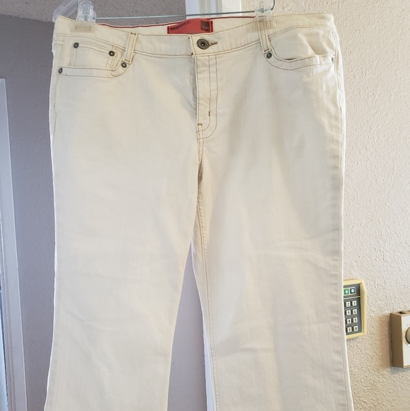 Mossimo Supply Co. Denim - Mossimo White Crop Stretch Jean's with Red Thread